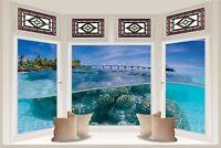 Huge 3D Bay Window Under Sea View Wall Stickers Mural Wallpaper 460