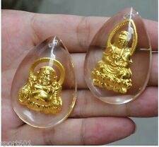 2pcs Solid 999 24K Yellow Gold & Crystal Lucky Buddha & Kwan-yin Pendant