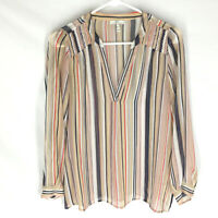 JOIE Blouse Size Small Sheer Striped 100% Silk Long Sleevd V-Neck Lightweight
