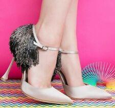 $1265 NEW Manolo Blahnik FRANCAMARIA Nude Satin Champagne Dorsay Heels Shoes 40
