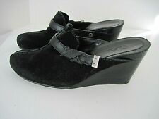 Cole Haan Women's Wedge Clogs Mules Black Suede Leather Buckle Size 7 1/2B