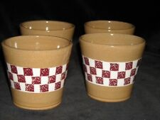 Lot of 4 Vtg MillCreekStoneware, Coshocton OH, Handleless Cups, Checkered Design