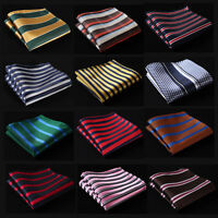 SC Stripe Men Silk Pocket Square Hanky Wedding Party Handkerchief