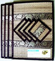 New Set 4 Coasters Placemat Black Color Thai Mat Dining Silk Reed Elephant Table