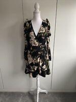 Women's River Island Size 10 Cold Shoulder Floral Wrap Dress BNWT RRP £45