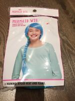 New Justice Girl's Blue Green Braided Mermaid Wig Costume Halloween Hair