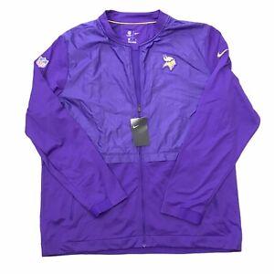 Nike On Field Minnesota Vikings Purple Full Zip XXL 2X Lightweight Jacket  NWT