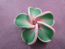Hawaii Plumeria Flower Polymer Clay w/ Rhinestone 40mm Green Pendant 1pc