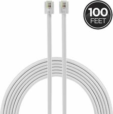 Line Cord, 100 Feet, Modular Jack Ends, Works For Phone, Modem Fax Machine, Use