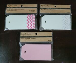 Recollections Craft It Place Cards, 20 pcs, 3 sets, white, pink & purple