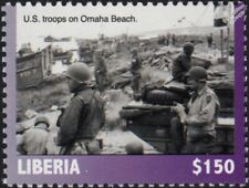 WWII 1944 D-Day US Troops on Omaha Beach / Landing Craft & Warship Stamp (2019)