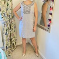 East UK 12 grey silver sequin linen shift dress summer party occasion embroidery