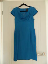 David Lawrence Cowl Neck Teal Shift Dress Size 10