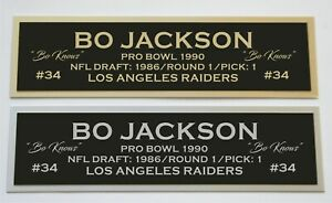 Bo Jackson nameplate for signed autographed jersey football helmet or photo