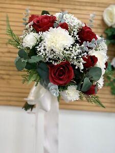 Artificial Wedding Bouquet, Bridal, Red Rose, Carnation, Gypsophila,