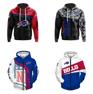 Buffalo Bills Fans Hoodie Zipper Sweatshirt Casual Hooded Jacket Sportwear Gift