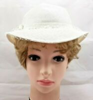 VNTG Womens Hat White Straw w/ Veil Summer Dress Church Wedding Accessory 7448B