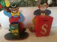 Salvadanaio E Portapenne In Legno Vintage Per Bambini