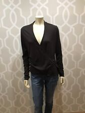 Ann Taylor Faux Wrap Top Long Sleeve Brown L Large V Neck Ruched Side