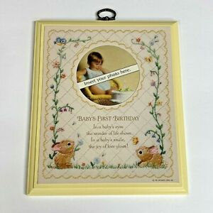 Hallmark Personalized Baby's First Birthday Plaque Picture Insert 1981 Vintage
