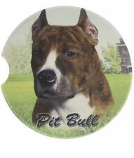 Es E & S Pets Absorbent Stoneware Car Cup Holder Coaster Dog Gift Pit Bull Brown