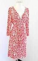 Tahari ASL Levine Orange White Leopard Animal Print Wrap Tie Dress Size 14