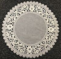 "20"" Round Organza Embroidered Lace Rhine Stone Doily White Silver Wedding Party"