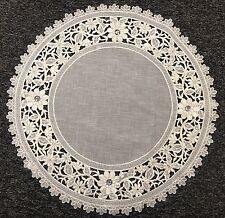 "20"" Round Embroidered Handmade Jeweled Rhine Stone Doily Doily Mat White Silver"