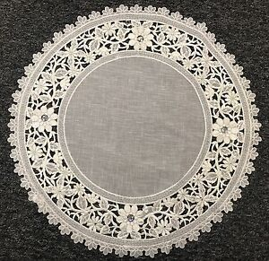 """20"""" Round Organza Embroidered Lace Rhine Stone Doily White Silver Wedding Party"""