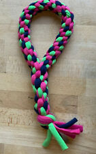 New listing Navy Blue, Lime Green and Magenta Round Knotted Cotton Teardrop Dog Tug toy