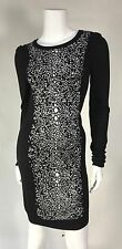 NWOT  French Connection Woman Sweater Dress SZ 6 US Black / White Fitted Long Sl