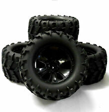 BS904-014B 1/10 Scale Black RC Nitro Monster Truck Off Road Wheels and Tyres x 4