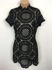 BNWT WOMENS BOOHOO (P) BLACK LACE EMBROIDERED SHORT SLEEVE BODYCON DRESS UK 6