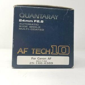 Quantaray camera Lens 24mm F2.8 Autofocus, Wide Angle, Multi-Coated For Canon EF
