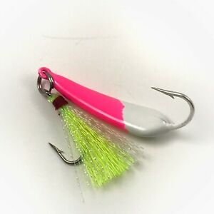 5 Pack Ringed Pompano Goofy Jigs Pink/White Jig/Chartreuse Teaser 3/8,1/2, 3/4oz