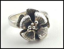 VINTAGE .925 Sterling Silver - Hibiscus Flower Ring - Size 6.5
