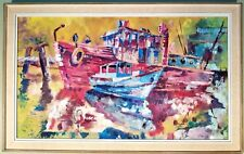 SUPERB 35X22 SIGNED MID CENTURY MODERN PAINTING SHIPS IN HARBOR OIL / BOARD 60'S