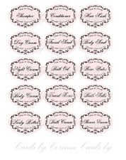 Vintage inspired 15 Bath and Body oval labels laminated glossy adhesive