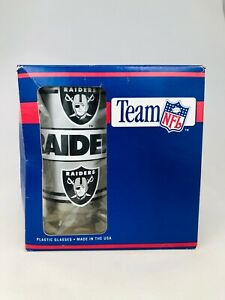 LOS ANGELES RAIDERS VINTAGE 1990'S TEAM NFL PLASTIC GLASS SET (4)