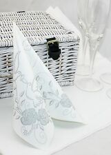 50 Mank Linclass Linen Feel Paper Napkins 40 x 40cm - Wedding Silver / White