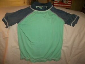 Boys Gymboree Swim 2011 top size 4--GUC--green, dark gray S/S, 80% nylon, 20% sp