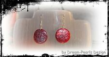 ♥ Dream-Pearls Design Ohrringe Perlmutt Glitzer Glitter rot silber ♥ OH070