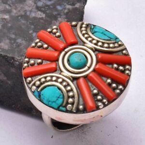 Tibetan Coral Turquoise Ethnic Handmade Ring Jewelry US Size-7.5 AR 37296