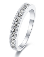 925 Sterling Silver Big Milgrain Engagement Wedding Ring Band - Cubic Zirconia