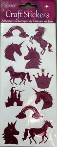 Unicorn Princess Sparkly Purple Stickers - Adhesive Backed - Ideal For Crafting