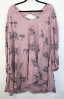 Free People Anthropologie Womens Size Large Purple Floral Dress Long Sleeve EUC