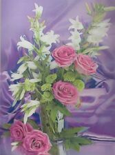 Poster Print 3d picture of Rose and Lily Bouquet on a table, great for Home B047