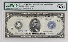 "1914 $5 Federal Reserve Note Philadelphia FR# 855c PMG 65 EPQ Rare ""C"" Variety"