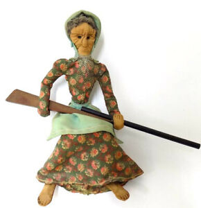 Cloth Doll Old Lady Holding Wood Long Rifle Southern Highland Handicrafters