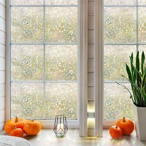 """3D Dots No Glue Static Decorative Privacy Window Films for Glass 17.7""""x78.7"""""""